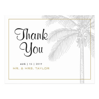 Chic Palm Tree & Gold Wedding Thank You Postcard