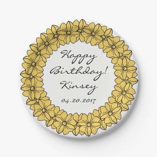 CHIC PANTONE 2017_PRIMROSE YELLOW BOWS PAPER PLATE 7 INCH PAPER PLATE