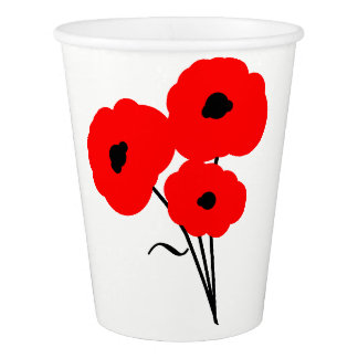 CHIC PAPER CUP_MOD 01 RED POPPIES PAPER CUP