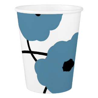 CHIC PAPER CUP_MOD BLUE & BLACK POPPIES