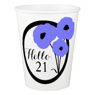 CHIC PAPER CUP_MOD PERIWINKLE POPPIES PAPER CUP