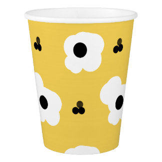 CHIC PAPER CUP_MOD WHITE AND BLACK FLORAL PAPER CUP