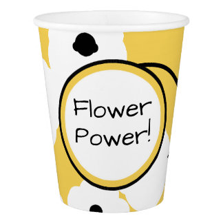 CHIC PAPER CUP_MOD YELLOW & BLACK POPPIES PAPER CUP