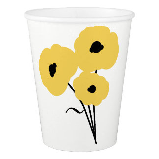 CHIC PAPER CUP_MOD YELLOW POPPIES PAPER CUP