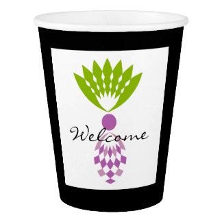 "CHIC PAPER CUP_TROPICAL ""WELCOME"" PURPLE PINEAPPLE PAPER CUP"