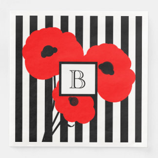 CHIC PAPER NAPKIN_MOD RED POPPIES ON STRIPES PAPER NAPKIN
