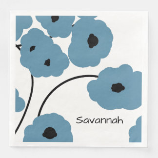 CHIC PAPER NAPKIN_MODERN BLUE & BLACK POPPIES DISPOSABLE NAPKIN
