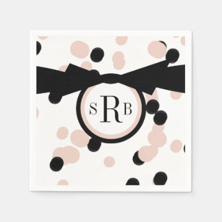CHIC PAPER NAPKIN_MODERN,GIRLY PINK/BLACK DOTS DISPOSABLE SERVIETTE