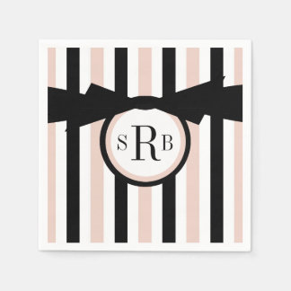 CHIC PAPER NAPKIN_MODERN,GIRLY PINK/BLACK STRIPES DISPOSABLE NAPKIN