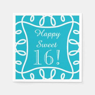 "CHIC PAPER NAPKIN_""Sweet 16!"" TURQUOISE/WHITE Paper Napkin"