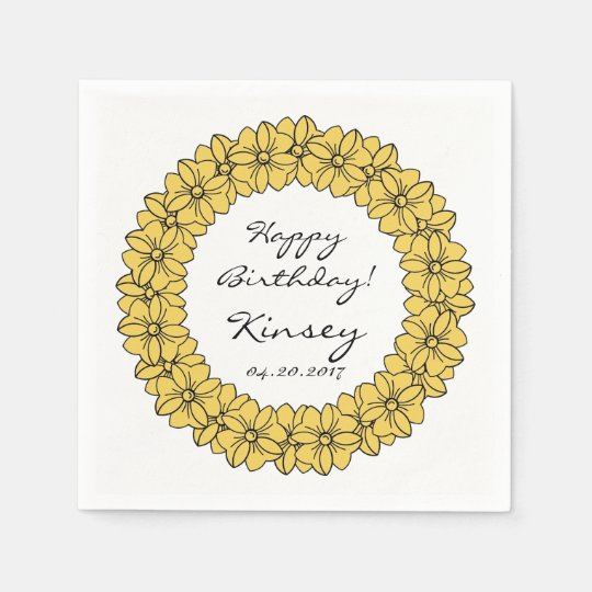 CHIC PAPER NAPKIN_YELLOW/WHITE HAPPY BIRTHDAY BOWS DISPOSABLE NAPKINS