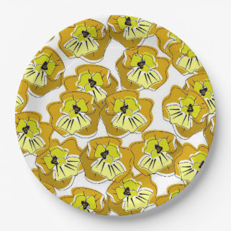 CHIC PAPER PLATE_FLORAL YELLOW/GOLD/BLACK PANSIES PAPER PLATE