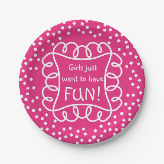 CHIC PAPER PLATE_ GIRLY/FUN HOT PINK/WHITE.  DIY PAPER PLATE