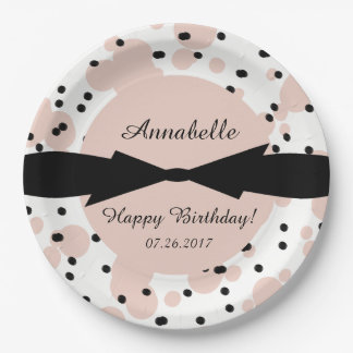 CHIC PAPER PLATE_ GIRLY,MODERN SPLATTERED DOTS PAPER PLATE