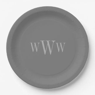 CHIC PAPER PLATE_GRAY SOLID/MONOGRAM PAPER PLATE