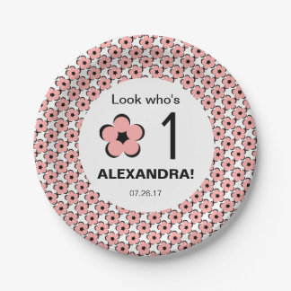 CHIC PAPER PLATE_LOOK WHO'S 1/BLUSH PINK FLORAL PAPER PLATE