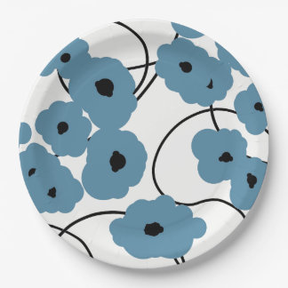 CHIC PAPER PLATE_MOD BLUE AND BLACK POPPIES 9 INCH PAPER PLATE