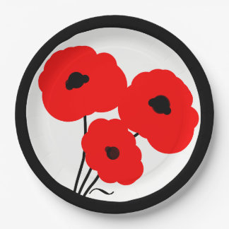 CHIC PAPER PLATE_MOD RED POPPIES PAPER PLATE