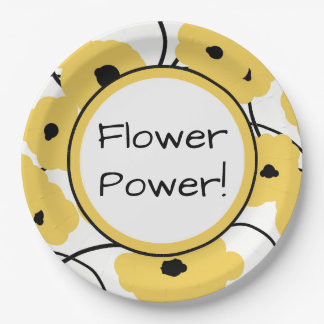 CHIC PAPER PLATE_MOD  YELLOW & BLACK  POPPIES PAPER PLATE