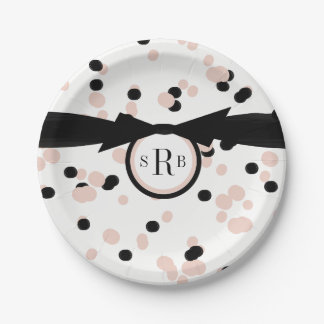 CHIC PAPER PLATE_MODERN DOTS_BLACK/PALE DOGWOOD PAPER PLATE
