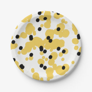 CHIC PAPER PLATE_MODERN DOTS_BLACK/YELLOW 7 INCH PAPER PLATE