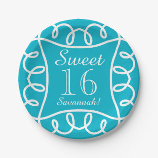 """CHIC PAPER PLATE_""""Sweet 16!"""" TURQUOISE/WHITE Paper Plate"""