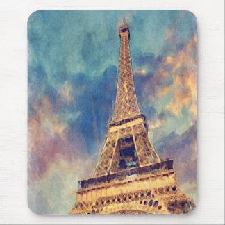 Chic Paris Eiffel Tower Cute Pastel Watercolor Mouse Pad