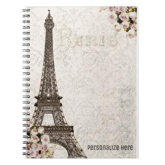 Chic Paris Eiffel Tower & Roses Elegant Custom Notebooks