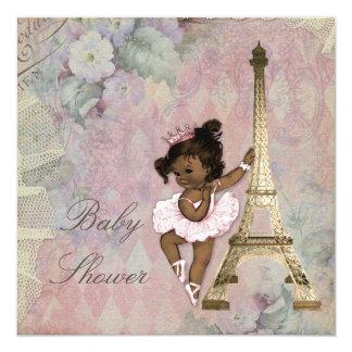 Chic Paris Ethnic Princess Ballerina Baby Shower 5.25x5.25 Square Paper Invitation Card
