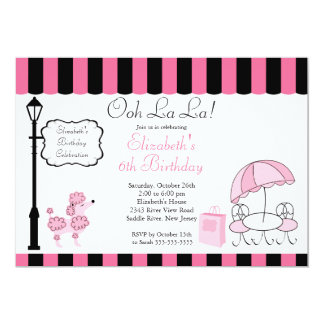 Chic Paris Pink Poodle Birthday Party Invitations