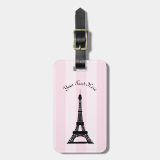 Chic Parisian Pink Stripe Black Eiffel Tower Luggage Tag