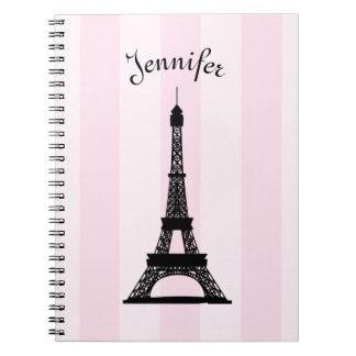 Chic Parisian Pink Stripe Black Eiffel Tower Spiral Note Book