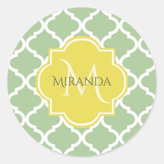 Chic Pastel Green Quatrefoil Yellow Name Monogram Classic Round Sticker