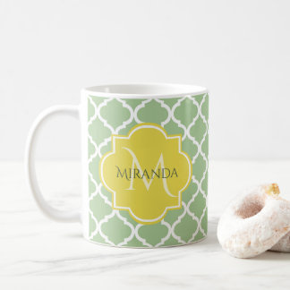 Chic Pastel Green Quatrefoil Yellow Name Monogram Coffee Mug