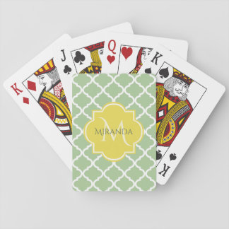 Chic Pastel Green Quatrefoil Yellow Name Monogram Playing Cards