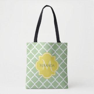 Chic Pastel Green Quatrefoil Yellow Name Monogram Tote Bag