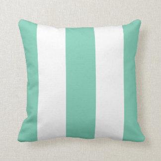 Chic Pastel Mint Green Bold Mod Stripes Pattern Throw Pillow