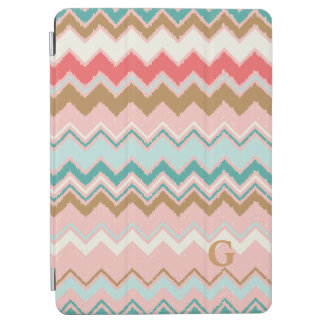 Chic Pastel Pink Mint Chevron Custom Monogram iPad Air Cover