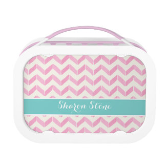 Chic Pastel Pink & Mint Chevron Custom Monogram Lunch Box