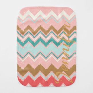 Chic Pastel Pink Mint Chevron Custom Monogram Burp Cloth