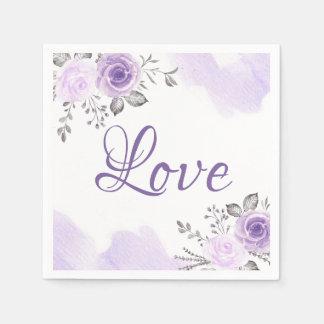Chic Pastel Purple Floral Love Script Wedding Disposable Napkins