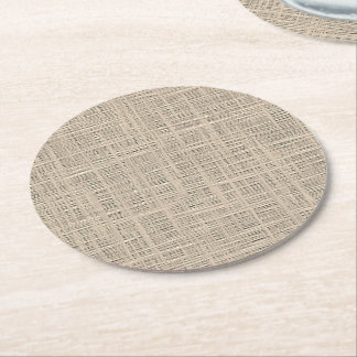 Chic Pastel Taupe Color Faux Jute Fabric Pattern Round Paper Coaster