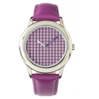 Chic Pattern Kid's Violet Leather Strap Watch