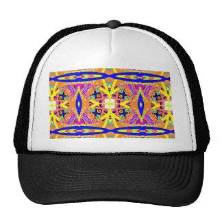 Chic Peach Blue Yellow Tribal Pattern Cap