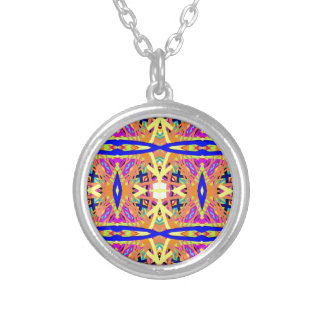 Chic Peach Blue Yellow Tribal Pattern Silver Plated Necklace