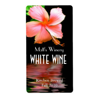 Chic Peach Hibiscus Home Made Wine Labels