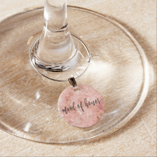 Chic Peach Marble Watercolor Wedding Maid of Honor Wine Charm