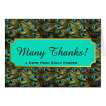 Chic Peacock Feathers Personalised Thank You Note Card