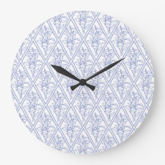 Chic Periwinkle Blue Floral Diamond Pattern Wall Clock