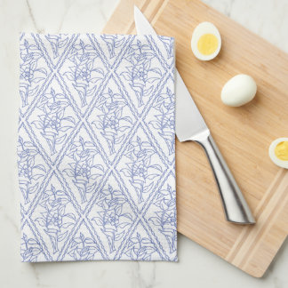 Chic Periwinkle Blue White Floral Diamond Pattern Tea Towel